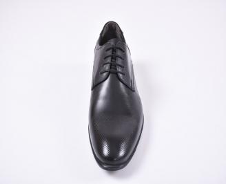Мъжки официални обувки естествена кожа черни AWYC-1010738