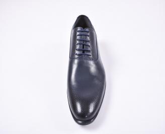 Мъжки официални обувки естествена кожа сини VPAU-1010740
