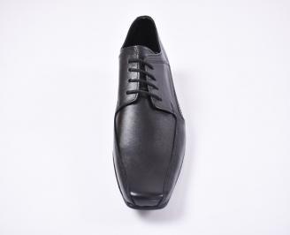 Мъжки официални обувки естествена кожа черни UKFF-1010741