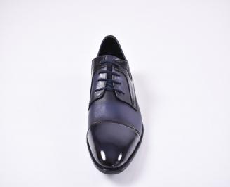 Мъжки официални обувки естествена кожа сини CBWE-1010743