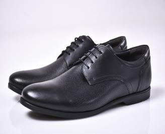 Мъжки официални обувки естествена кожа черни DOBZ-1013308