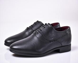 Мъжки официални обувки естествена кожа черни DSKZ-1013566