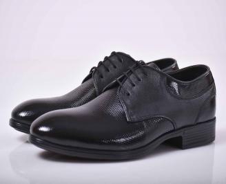 Мъжки официални обувки естествена лак черни   HNIU-1015875