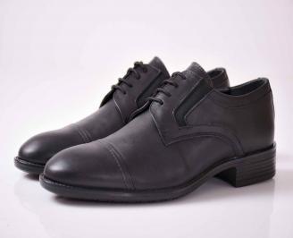 Мъжки официални обувки естествена кожа черни HFQK-1015941