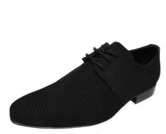 Мъжки официални обувки черни естествен велур LVTT-21163