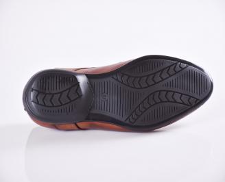 Мъжки официални обувки естествена кожа кафяви HUDQ-21540