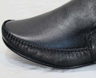 Мъжки официални  обувки естествена кожа черни CQSR-23012