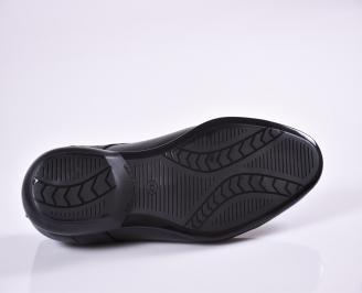 Мъжки официални обувки естествена кожа черни QIYW-23387