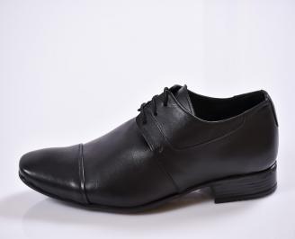 Мъжки официални обувки естествена кожа черни QQXI-23388