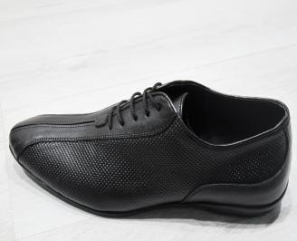 Мъжки официални обувки естествена кожа черни HFGW-23389