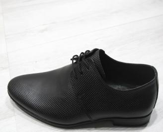 Мъжки официални обувки естествена кожа черни TZVZ-23394