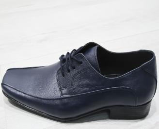 Мъжки официални обувки тъмно сини естествена кожа ENCQ-23397