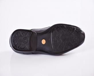 Мъжки официални обувки от естествена кожа  черни RFOK-23464