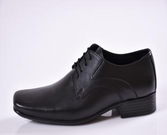 Мъжки официални обувки от естествена кожа черни IISV-23465