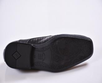 Мъжки официални обувки естествена кожа черни WUKM-23466