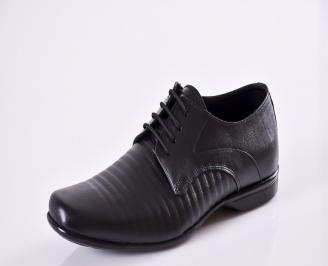 Мъжки официални обувки естествена кожа черни WKBF-23474