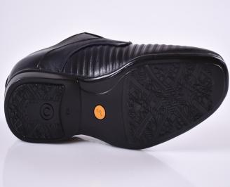 Мъжки официални обувки тъмно сини естествена кожа NFRL-23477