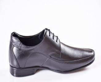 Мъжки официални обувки естествена кожа черни XZWK-24187