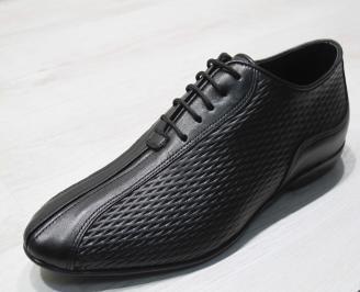 Мъжки официални обувки естествена кожа черни RTMA-24188