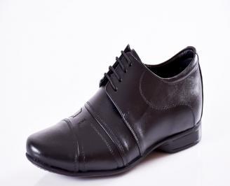 Мъжки официални обувки естествена кожа черни LJHO-25197