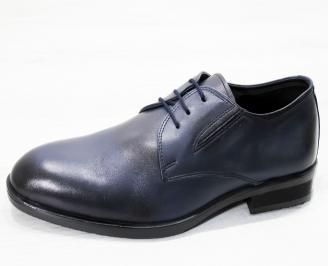Мъжки официални обувки тъмно сини естествена кожа HGFN-25242