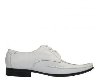 Мъжки официални обувки от естествена кожа бели VSTX-10159