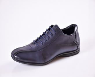 Мъжки официални обувки тъмно сини естествена кожа YZKH-26929