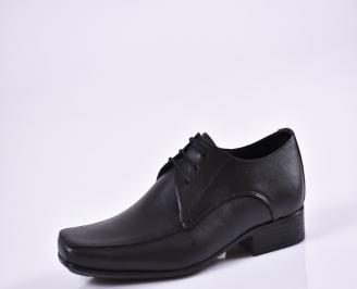 Мъжки официални обувки естествена кожа черни EBMD-26957