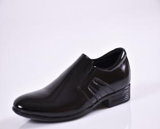 Мъжки официални обувки естествена кожа/лак черни RGYU-26958