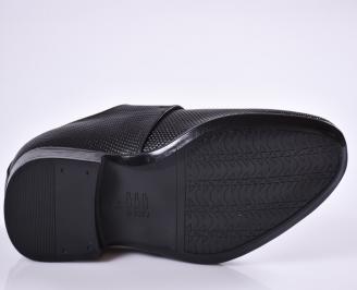Мъжки официални обувки естествена кожа черни OEQE-26961