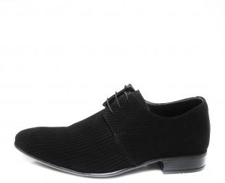 Мъжки официални обувки естествен велур черни LLMJ-16451