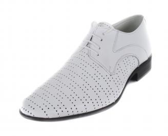 Мъжки официални обувки естествена кожа бели OLTH-16892
