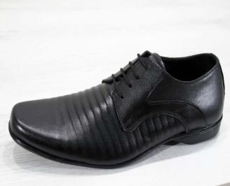 Мъжки официални обувки естествена кожа черни XHLN-17761