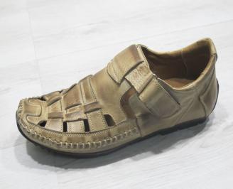 Мъжки сандали бежови естествена кожа ENFN-23844