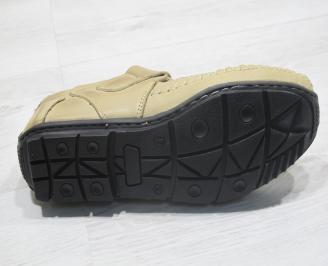 Мъжки сандали бежови естествена кожа PAKO-23847