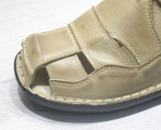 Мъжки сандали бежови естествена кожа RBDM-23849