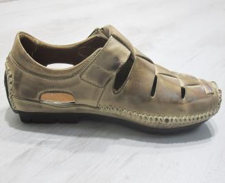 Мъжки сандали бежови естествена кожа FLCK-23851