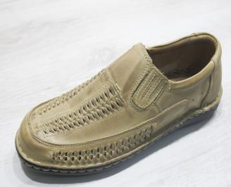 Мъжки сандали бежови естествена кожа URUZ-23854