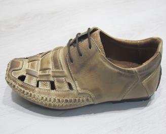 Мъжки сандали бежови естествена кожа ABMK-23856