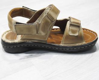 Мъжки сандали бежови естествена кожа HFVW-24151