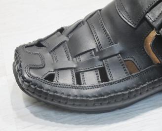 Мъжки сандали черни естествена кожа XUDN-23845
