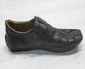 Мъжки сандали черни естествена кожа IKEW-23848