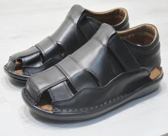 Мъжки сандали черни естествена кожа DBRG-23850