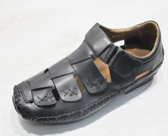 Мъжки сандали черни естествена кожа NKCK-23852