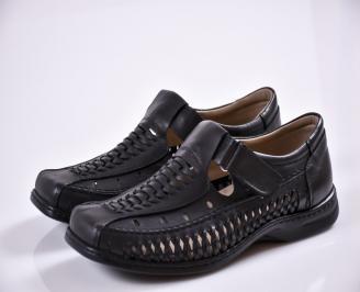 Мъжки сандали черни естествена кожа IHCG-27679