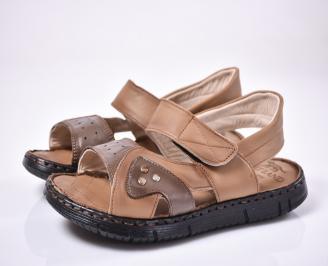 Мъжки сандали естествена кожа кафяви DHJL-1012667