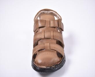 Мъжки сандали естествена кожа кафяви AJLP-1012668