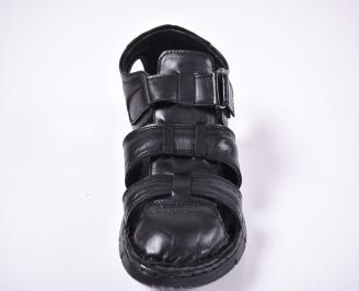 Мъжки сандали естествена кожа черни WQFR-1012669