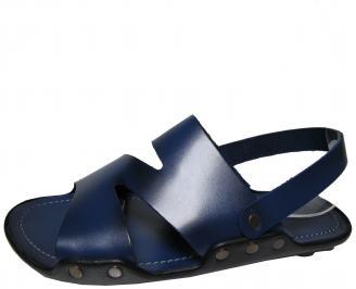 Мъжки сандали естествена кожа тъмно сини EOPY-21859