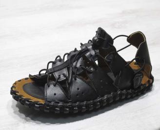 Мъжки сандали естествена кожа черни SAHG-24664